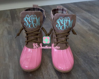 ON SALE Monogrammed Duck Boots PINK Personalized Duck Plaid Lined Boots for Women Snow Boots with Monogram