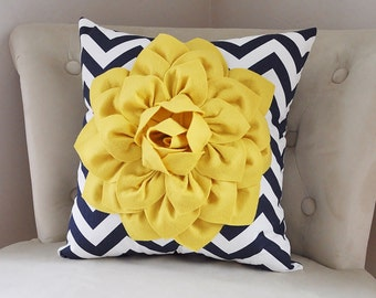Navy Blue and Yellow Pillow Covers - Decorative Throw Pillow Covers - Navy Blue Cushion Covers - Yellow Blue Pillows - Flower Navy Pillow