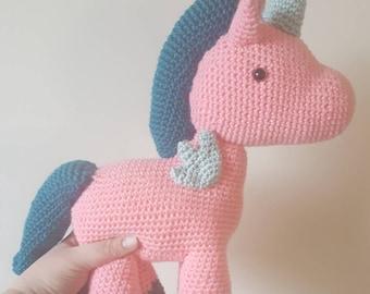 Sale-Handmade crochet stuffed unicorn, Pegasus, stuffed toy, plush friend, child