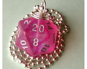 Dungeons and Dragons - D20 Die Pendant - Pink Borealis - Glitter Girly Geek Gamer DnD Role Playing RPG