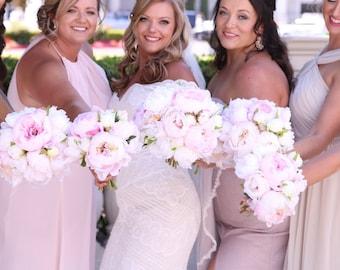 Blush & White Peony Bridal Bouquet, Modern Bouquet, Blush Pink Wedding Bouquet, Silk Flowers, Peony Bouquet, Blush Peonies, Wedding Flowers