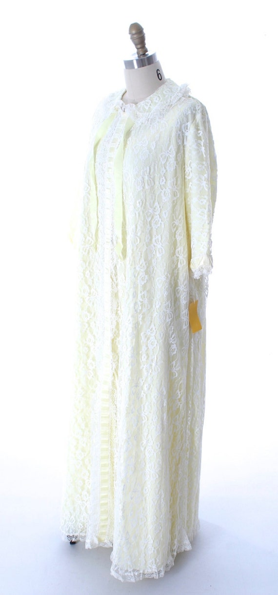 Nylon Yellow Lingerie VTG Negligee Odette Barsa Robe Peignoir Set Nightgown 1960s NWT L Lace wqAEv1vF