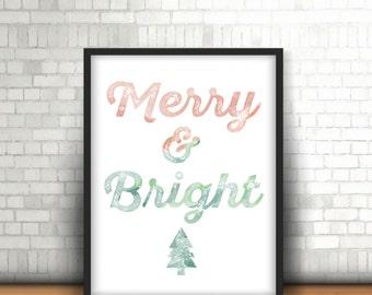 Merry & Bright Christmas PRINTABLE Wall Art