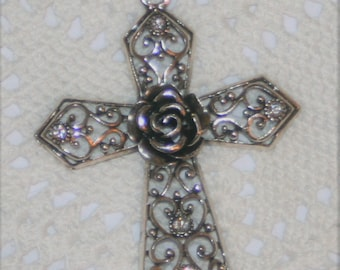 Light Catching Swirled Hearts Filigreed Rose Accented White Rhinestone Pectoral Cross Pendant Necklace