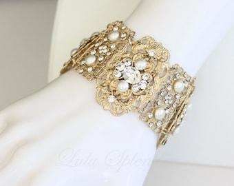 Gold Wedding Jewelry Pearl Gold Bridal Cuff Bracelet Vintage Wedding Cuff Wide Gold Bridal Bracelet LEILA CUFF