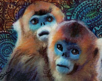 original art  aceo drawing red spider monkey zentangle design spirit animals
