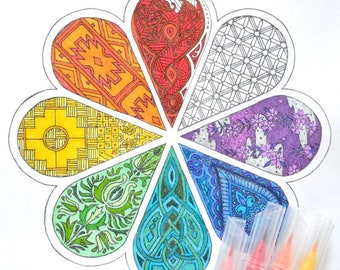 We All Are One - Multi-Cultural Mandala Coloring Page and Song Lyrics / Poem - Instant Digital Download PDF - Japanese, Celtic, Maori, Aztec