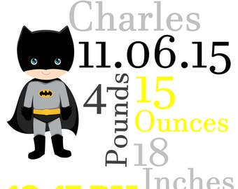 Batman Birth Announcement Wall Hanging, Customized, Personalized, New Baby, Baby Boy, Nursery Theme, Bedroom Decor, Home Decor, Boys Bedroom