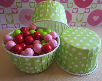 24 Lime Green Polka Dot Candy Baking Nut Cup