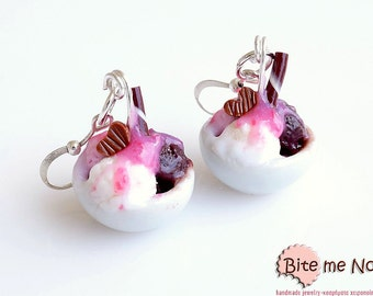 Food Jewelry Ice Cream Bowls Hook Earrings, Summer Earrings, Mini Food Jewelry, Miniature Food, Polymer Clay Jewelry, Kawaii Jewelry