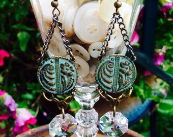 Floral Earrings, Art Deco, disc with a verdigris Patina, Repurposed Vintage chandelier Crystals By: Kari Wolf Designs
