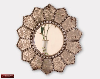 "Handmade Eglomise wall Mirror 23.6"", Peruvian luxury Sunflower Mirror, Silver Round Mirror wall art decor, Mirror for living room, bathroom"