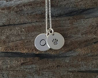 Sterling Silver Paw Initial Necklace, Personalized Necklace, Initial Necklace, Pet Initial Charm, Customized Necklace