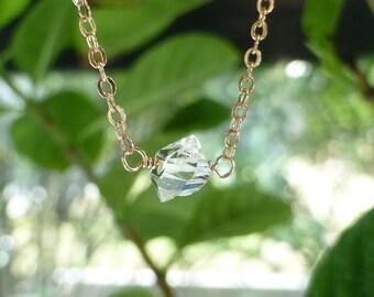 Herkimer Diamond Necklace, Diamond Solitaire, Crystal Necklace, Quartz Gemstone, April Birthstone, Rose Gold, Diamond Necklace