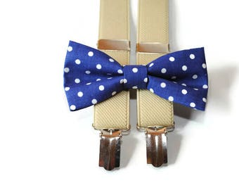navy blue bow tie & tan suspenders boys bow tie boys suspenders ring bearer outfit wedding outfit bowtie polka dot bow ties matching dad son