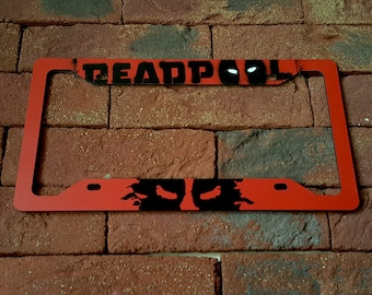 Deadpool Logo Splash Badass Comics Avengers Printed Aluminum Composite Car License Plate Frame