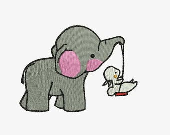 Elephant and Bunny Nursery Machine Embroidery Designs - Cartoon Friends Instant Download Filled Stitches Design 173