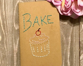 Cupcake Bake Journal Embroidered Hoop Art - Handmade Journal - Gift for Baker