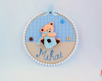 Nursery Hoop - Boy Nursery - Nursery Decor - Baby Shower Gifts - Baby Name Decoration - Baby Name Sign - Kids Gifts - Baby Boy gifts - Teddy
