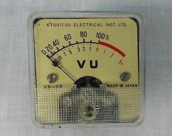 Vintage Kyoritsu Electrical VR-2P VU Panel Meter Made in Japan