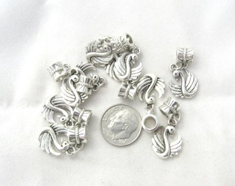 10 Pc Antique Silver Swan Euro Style Dangle Charm Set (B156f17)