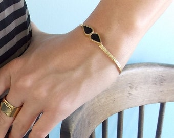 Bridesmaid Bracelet - Black Drops Bracelet - Bridesmaids Jewelry - Delicate Bracelet - Black And Gold Bracelet - Elegany Jewelry