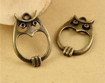 Bulk Lot 60pcs of 23x12mm Owl Charm Pendants Wholesale Charms Antique Bronze Jewelry Findings PA0681-A1859