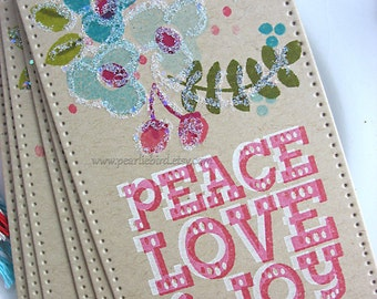 Folk Art Peace Joy Love Winter Holiday Gift Tags, Kraft Brown, Turquoise, Red, Olive Green, Pretty Packaging, Gift Topper, Floral Tag