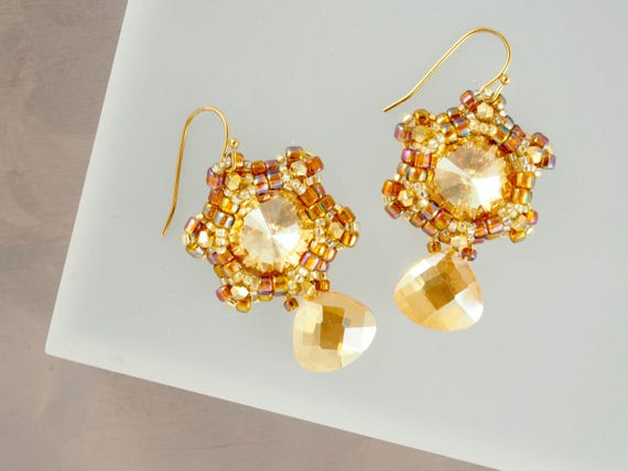Sparkly Gold Teardrop Dangle Earrings