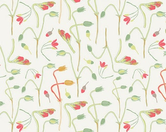 Coral & Green Floral Fabric, Art Gallery Reminisce RMS-2503 Sprouts of Joy Ivy, Bonnie Christine, Floral Quilt Fabric, Cotton Yardage