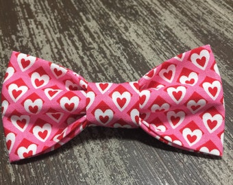 VALENTINE'S DAY Bow Tie  Collar Attachment & Accessory for Dogs and Cats / Pink and White Love Hearts