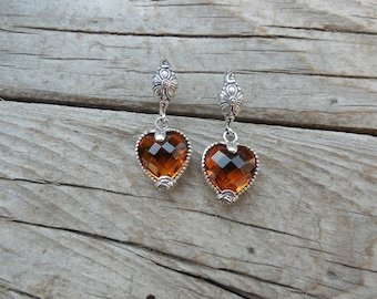 Beautiful heart shape Madeira citrine earrings handmade in sterling silver