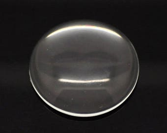 25 Cabochons 35mm - WHOLESALE - Flatbacks - Clear Glass - Ships IMMEDIATELY  from California - G110b