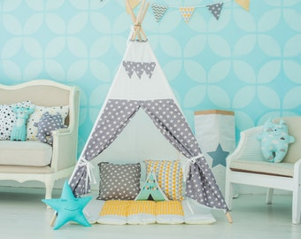 "FREE SHIPPING teepee ""Gray stars"", kids teepee play tent wigwam, children's teepee, playtent, tipi, wigwam, kids teepee, tent, play teepee"