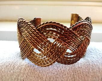Vintage Woven Copper Cuff bracelet