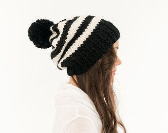 Striped Knit Slouchy Hat Chunky Pom Pom Wool Beanie, Ribbed Knitted Slouch Toque Slouch, Women's Handmade Winter Accessory / All Sizes