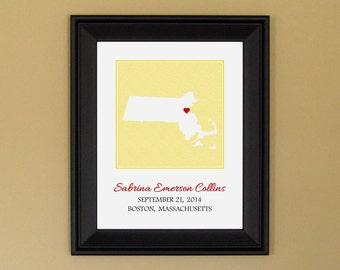 Personalized New Baby Gift - Custom Birth Announcement Print - Nursery Art - Personalized Massachusetts Map - 11 x 14