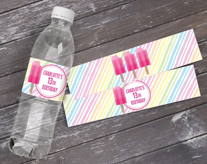 Popsicle Party Water Bottle Label/Wrap - Popsicle Birthday, Ice Lolly, Ice Pop, Self-Editing | DIY Editable Text INSTANT DOWNLOAD Printable