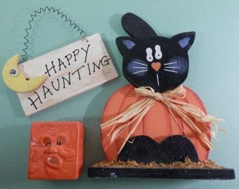 CLEARANCE Halloween Decorations Black Wooden Cat Shelf Sitter Ceramic Pumpkin Face Tea Light Votive Candle Holder Happy Haunting Hanger Sign