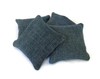 Upcycled Blue Denim Bean Bags Child's Toy Home School Classic Soft Toss Game BeanBags (set of 4) - US Shipping Included
