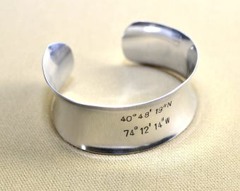 Sterling silver anticlastic latitude and longitude cuff bracelet with personalized coordinates - - Handcraft solid 925 BR830