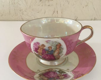 Pink Lusterware Teacup + Saucer Opalescent English Couple Nasco Del Coronado Japan