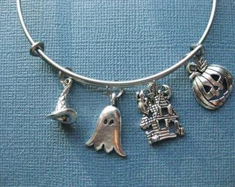 Halloween Bangle - Halloween Charm Bracelet - Halloween Jewelry - Charm Bracelet - Bangle - Holiday Bangle - Halloween -- B139