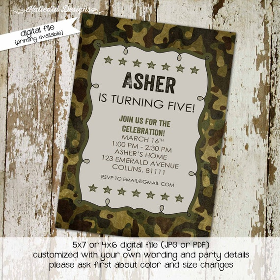army birthday invitation baby boy shower camo party camping stars sprinkle couples diaper baptism bash (item 210) shabby chic invitations