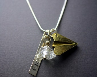 FLY- Airplane  and Crystal Blown Glass Necklace