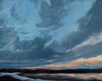 Bosque Sunrise, II - Bosque del Apache - New Mexico - Original Oil Landscape Painting