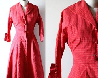1950s red swing dress // striped dress // vintage dress