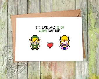 Anniversary Card, Zelda, Zelda Card, Happy Anniversary Card, for Girlfriend, for Her, The Legend of Zelda, Link Geeky Anniversary Geeky Card