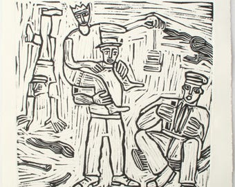 Embossed lino cut by Claire Harper. Performers and musicians from the Exeter Portfolio