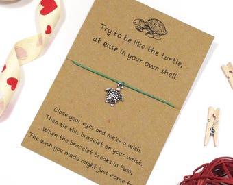 be like a turtle wish bracelet, friendship bracelet, cord bracelet, charm string bracelet, string bracelet, friend jewellery, gift for her